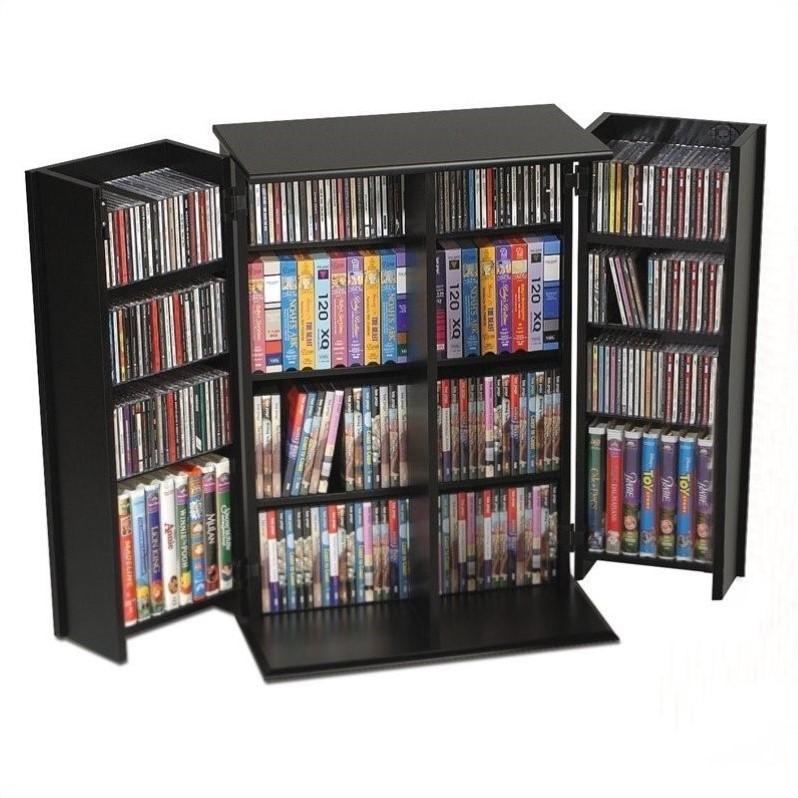 Prepac 64 Slim Barrister Cd Dvd Media Storage Tower In Black