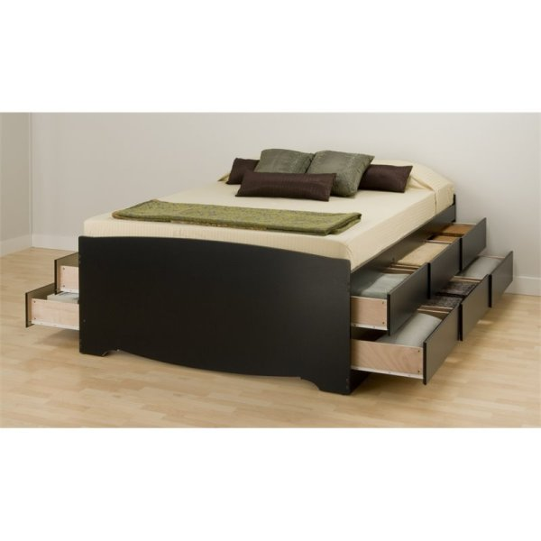 Black Tall Full Platform Storage Bed With 12 Drawers - Bbd-5612