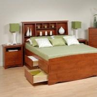 Cherry Full Wood Platform Storage Bed 3 Piece Bedroom Set