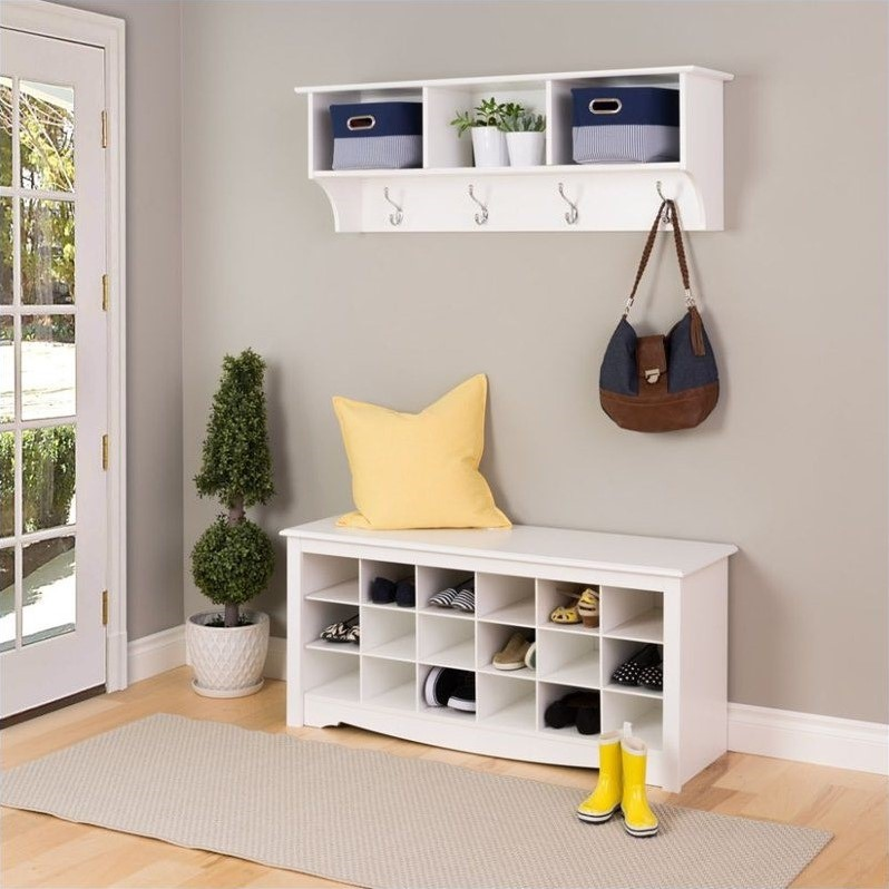 18 Cubby Shoe Storage Bench In White Wss 4824