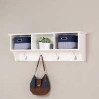 Prepac Sonoma White Cubbie Shelf Wall Coat Rack