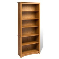 "Prepac Sonoma 6 Shelf 77""H Wood Oak Bookcase"