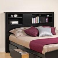 Full / Queen Bookcase Headboard in Black Finish - BHFX-0302-1