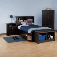 Black Twin Wood Bookcase Headboard 2 Piece Bedroom Set ...