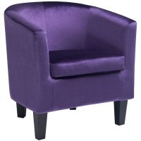Barrel Chair in Purple Velvet - LAD-758-C