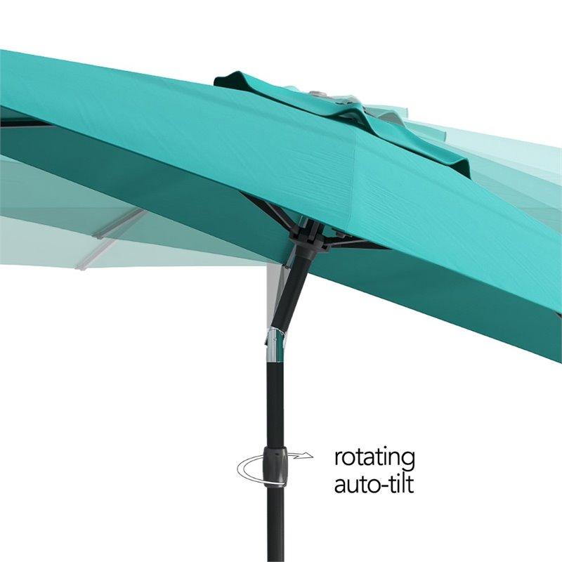 corliving 10ft tilting turquoise blue fabric patio umbrella
