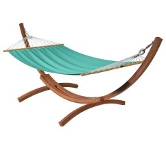 Swing Chair Over Canyon Black Cotton Covers Corliving Wood Free Standing Patio Hammock In Teal Canvas
