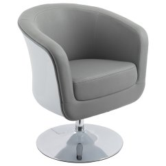 Swivel Tub Chairs Chair Leg Sliders For Carpet Corliving Mod Leather In Gray And White Dln 260 C
