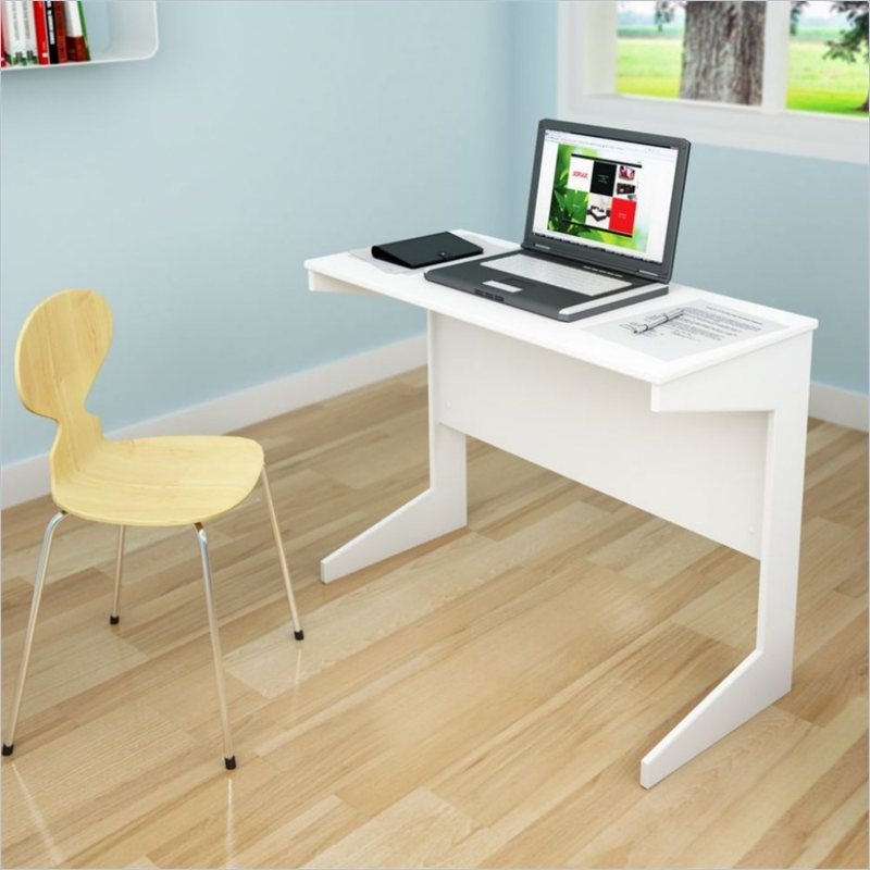 Sonax Slim Workspace Desk in Frost White  Small White
