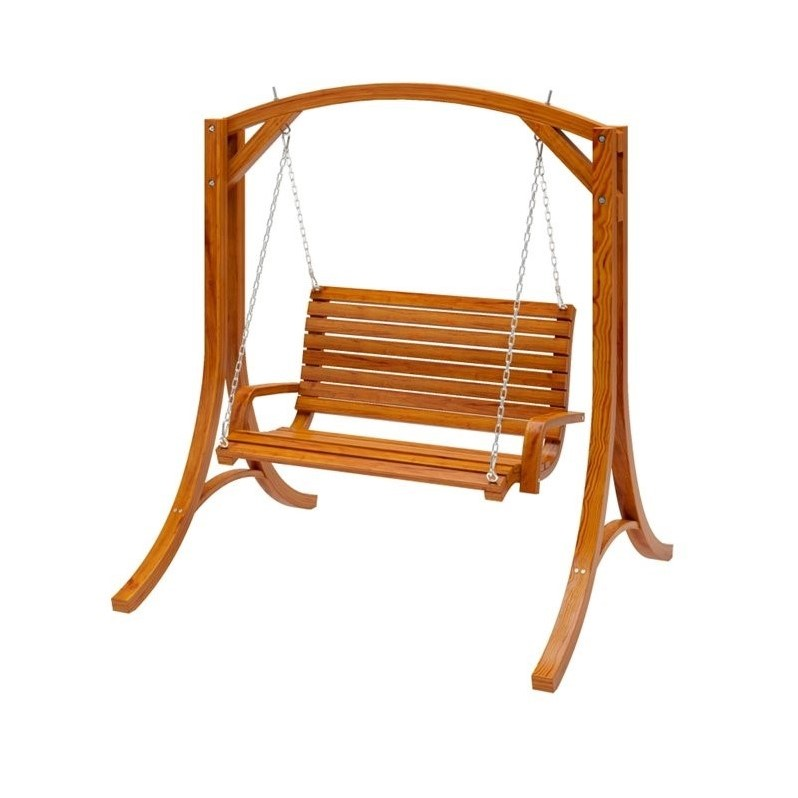 swing chair over canyon beach lounge canopy wood cinnamon brown stained patio pwc 331 s