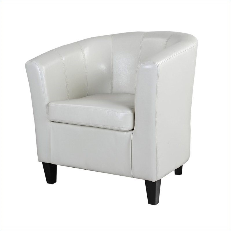 Leather Club Barrel Chair in White  LAD715C
