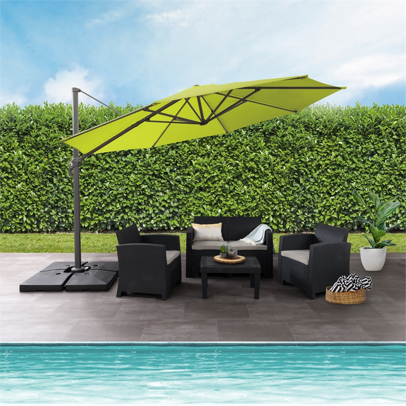corliving 11 5ft uv resistant deluxe offset lime green fabric patio umbrella