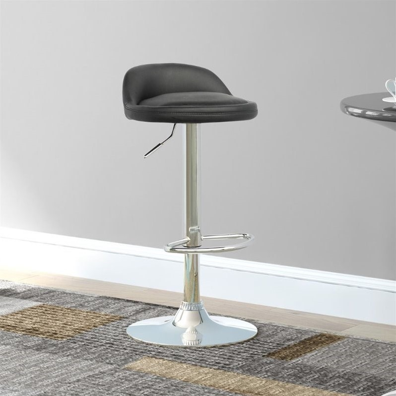 Low Profile Adjustable Bar Stool in Black (Set of 2)
