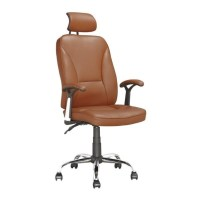Faux Leather Swivel Office Chair in Light Brown - LOF-699-O
