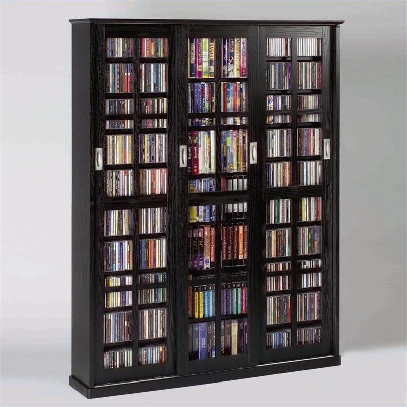 62 Sliding Door Inlaid Glass Multimedia Cabinet in Black