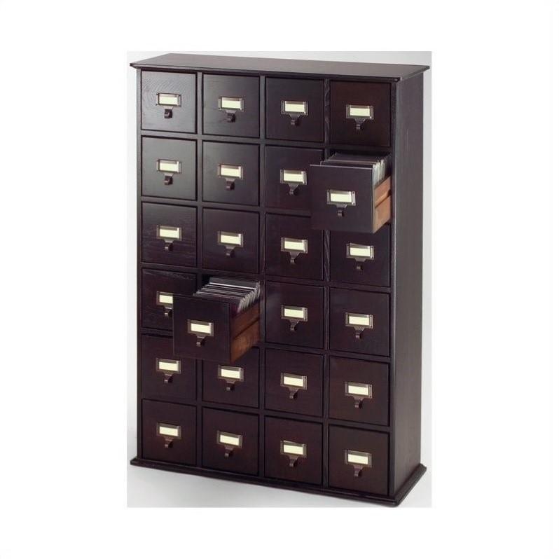 40 24Drawer CD Media Storage Cabinet in Espresso  CD45678