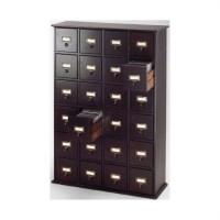 Library Card File Multimedia Cabinet in Espresso - CD-456-78