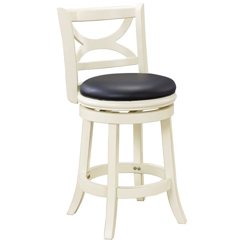 24 Swivel Counter Stool In Distressed White 43724