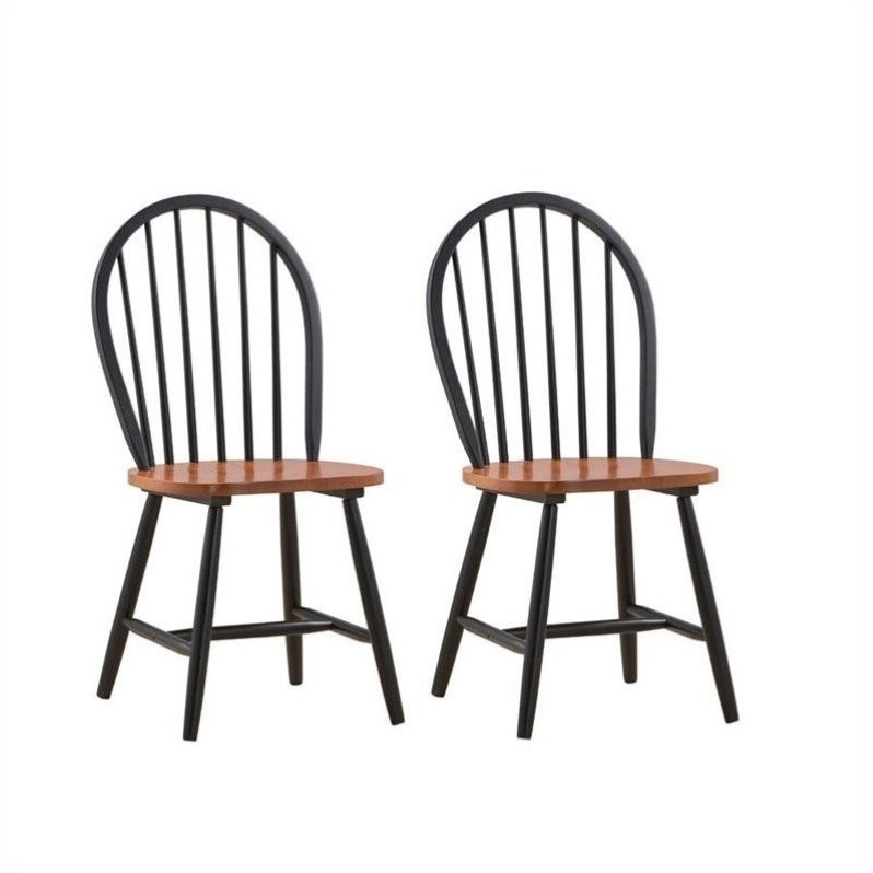 Boraam Farmhouse Dining Chair in Black and Cherry Set of Two  31516