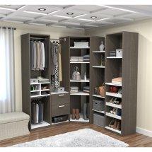 Bestar Cielo Deluxe Corner Walk-in Closet In Bark Gray And