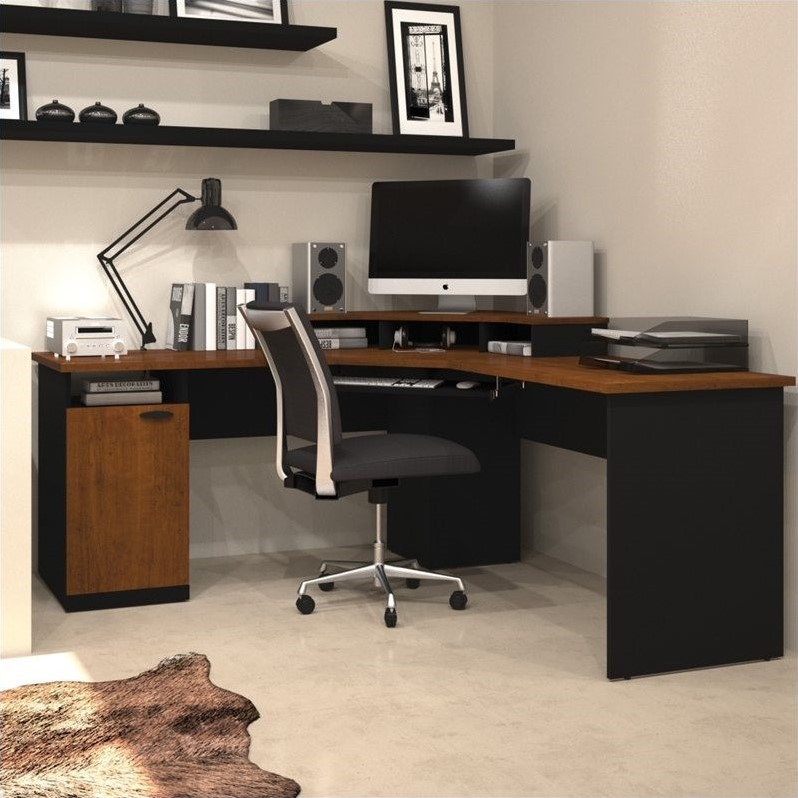 Bestar Hampton Wood Home Office Corner Tuscany Brown