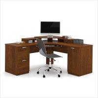 Bestar Elite Home Office Corner Wood Tuscany Brown ...