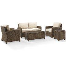 Crosley Bradenton 5 Piece Wicker Patio Sofa Set With Sand