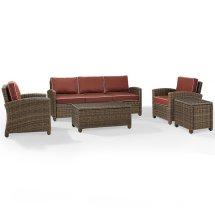 Crosley Bradenton 5 Piece Wicker Patio Sofa Set With