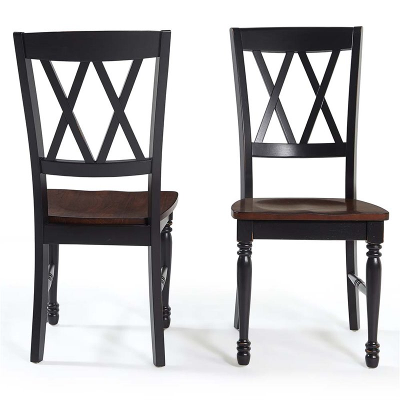 double x back chairs makeup artist portable chair crosley shelby dining side in black set of 2 cf501018 bk