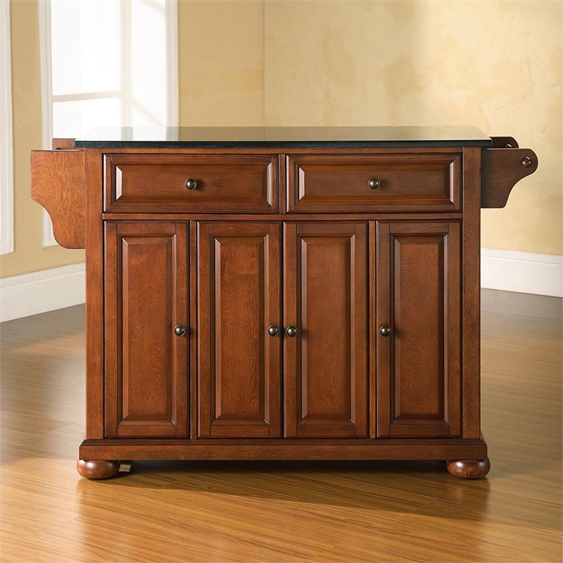 crosley alexandria kitchen island home depot lights furniture black granite top in classic cherry kf30004ach