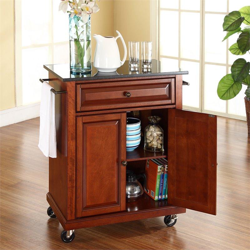cherry kitchen cart black hardware for cabinets crosley furniture granite top classic