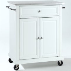 Stainless Kitchen Cart Towels Target Crosley Furniture Steel Top In White Kf30022ewh