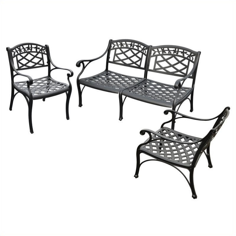 crosley sedona 3 piece aluminum patio sofa set in black