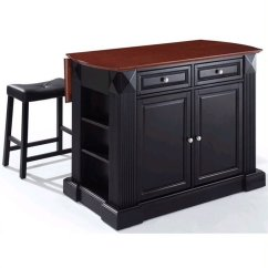 Crosley Kitchen Island Backsplash For Ideas Furniture Coventry Drop Leaf Breakfast Bar With Stools In Black