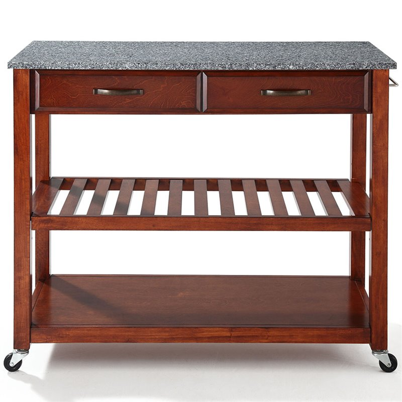 crosley kitchen island cleaning check list cart solid granite in classic cherry kf30053ch
