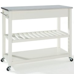Crosley Kitchen Cart Cabinet Storage Organizers Island Stainless Steel Top In White Kf30052wh