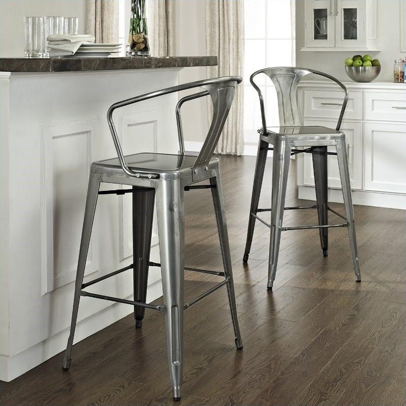 Crosley Furniture Amelia 30 Metal Bar Stool in Galvanized