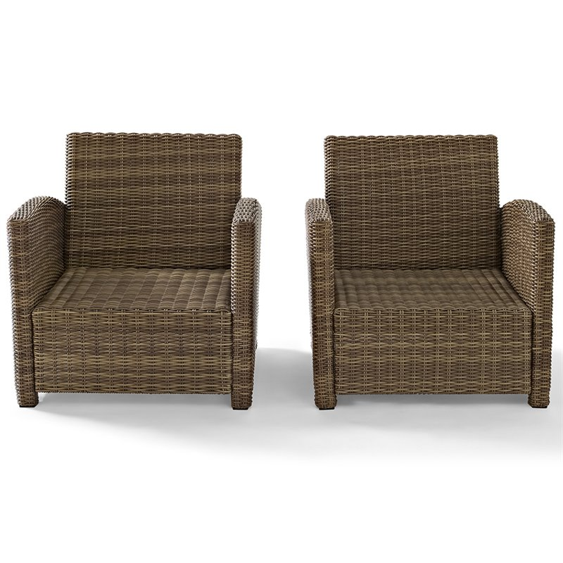 crosley bradenton wicker patio chair in brown and sangria set of 2