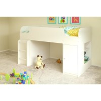 Loft Bed With Bookcase and Toy Box in White - 5861015PCOM