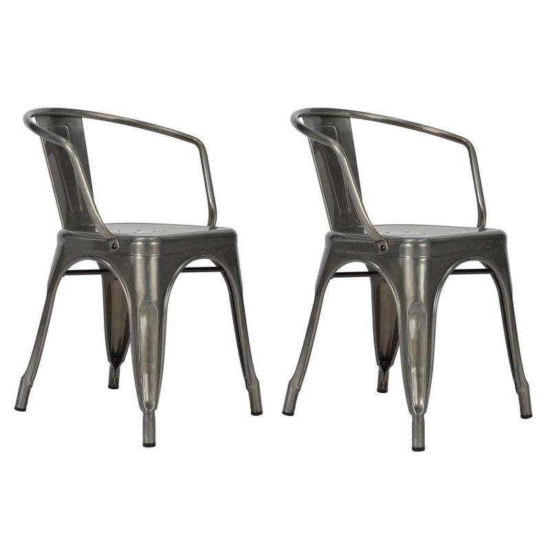 DHP Elise Tabouret Metal Dining Chair in Antique Gun Metal
