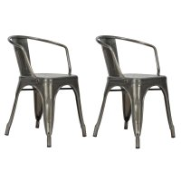 DHP Elise Tabouret Metal Dining Chair in Antique Gun Metal