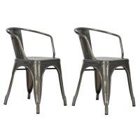 DHP Elise Tabouret Metal Dining Chair in Antique Gun Metal ...