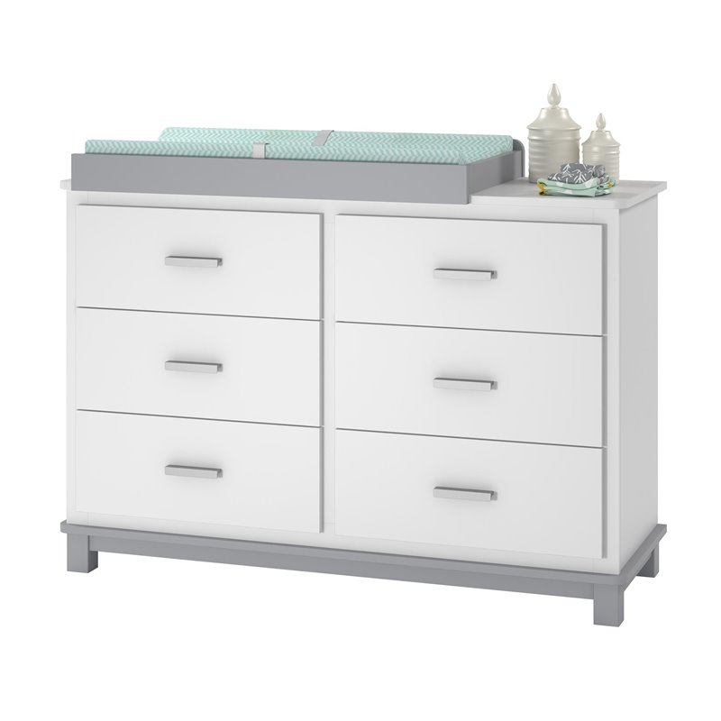 Ameriwood Home Leni 6 Drawer Dresser Changing Table in White and Gray  eBay