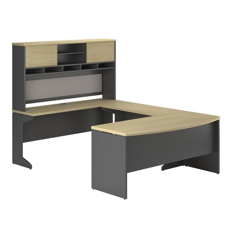 UShape Computer Desk in Natural and Gray  9347196