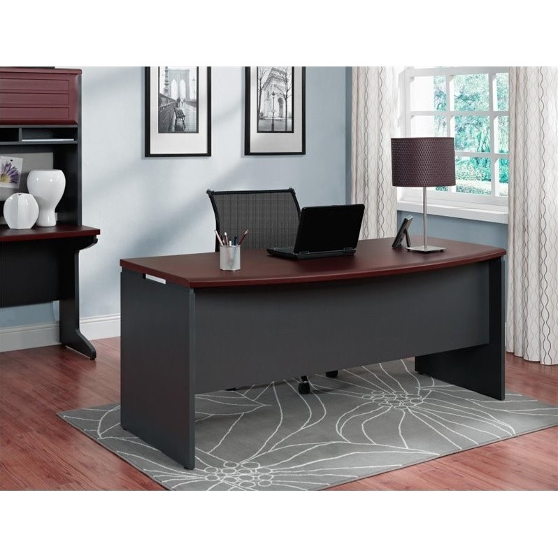 Executive Desk in Cherry and Gray  9319196