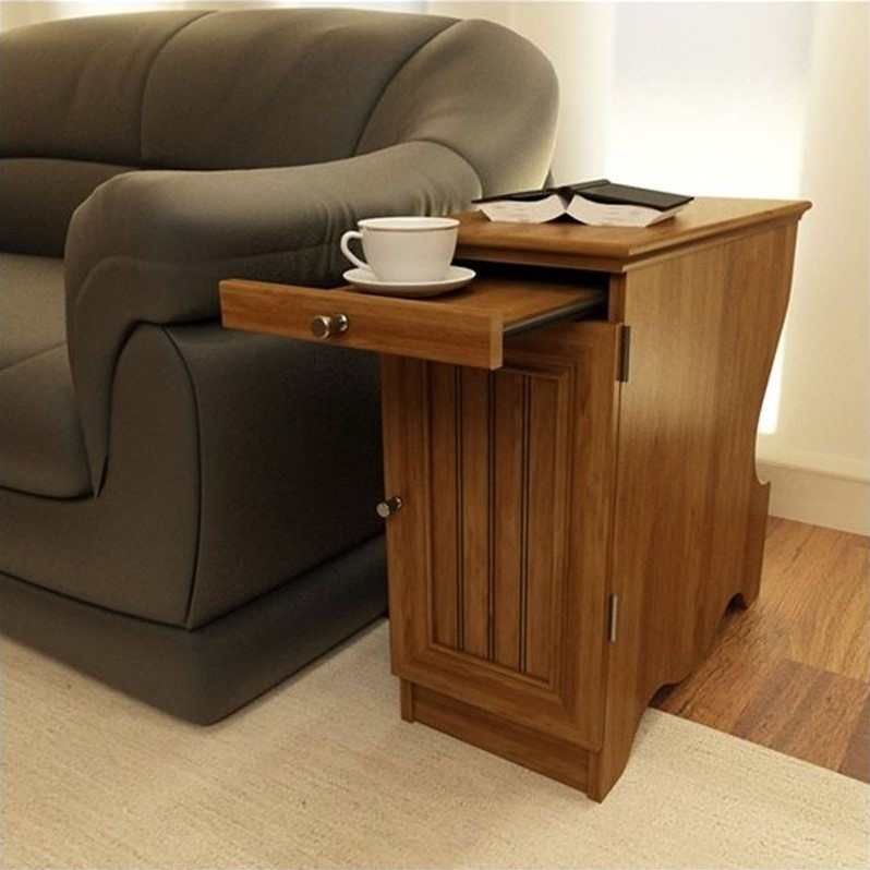 chair side tables with storage barrel covers wood chairside end table in brown 3576301pcom