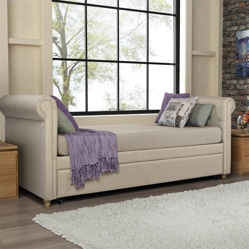 upholstered stacking chairs beige club chair dhp sophia twin daybed with trundle in tan - 4032359