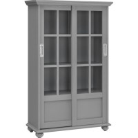 4-Shelf Glass Door Bookcase in Soft Gray - 9448296PCOM