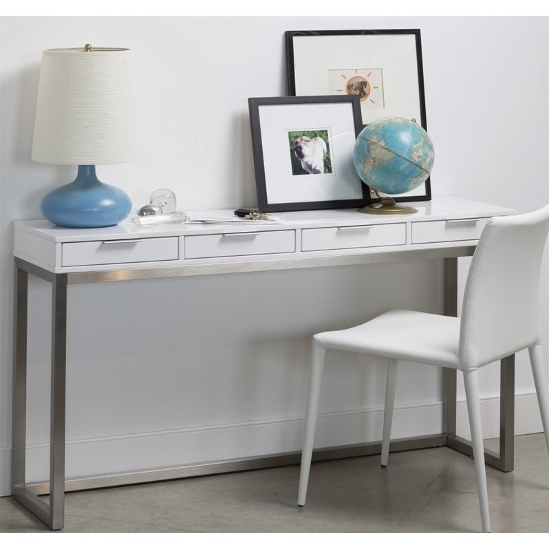 Mobital Palco Sofa Table in High Gloss White  WSOPALCWHITPUOP