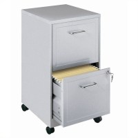 Mobile 2 Drawer File Cabinet in Silver - 16873